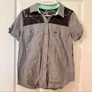 Hurley Lace Shoulder Button Down Top NWT